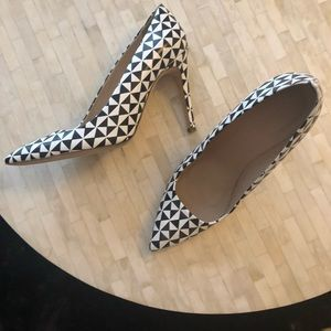 J. Crew black and white pattern leather high heels